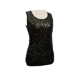 89th & Madison Black Sequins Tank Top S